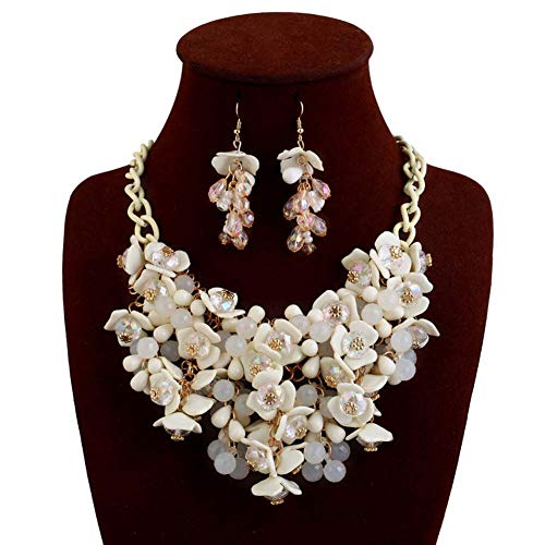 HoBST Party Choker Necklace Fashion White Flower Bubble Bib Collar Chain Statement Necklaces Earrings Set for Women