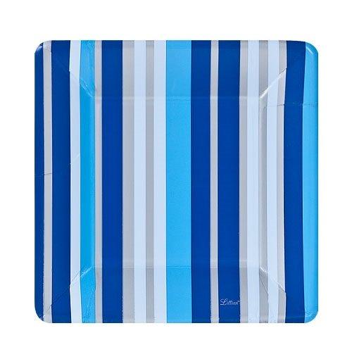 Lillian Tablesettings 24-Piece Square Paper Plates Set, 7-Inch, Blue Stripe