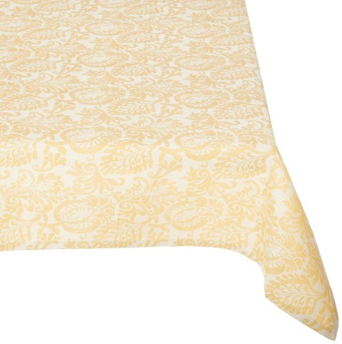 Mahogany Leaf Baroque Rectangle Jacquard Tablecloth, 60 by 120-Inch, Gold