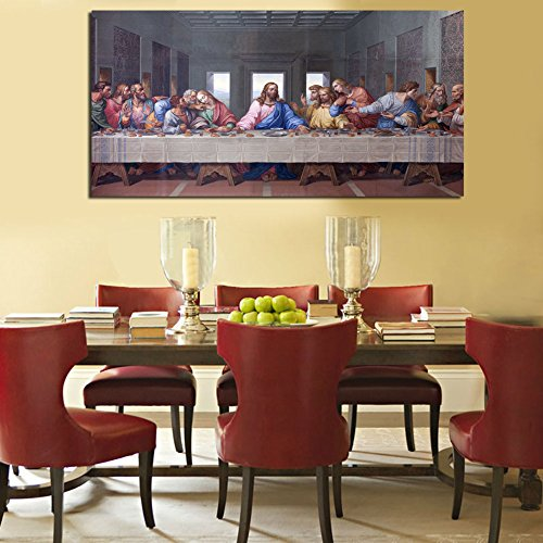 ShuaXin Large Wall Art The Last Supper HD Oil Painting Print On Canvas Christmas Gift Decor for Room Decorations No Frame (20X40 inch) (Last Supper Oil Painting)