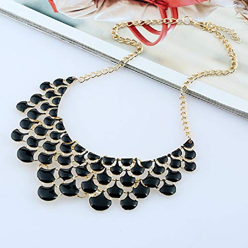 Wcysin Women Girls Fashion Necklace Bib Statement Jewelry Sweater Chain Pendant Jewelry (Black)