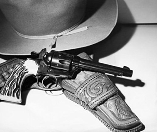 Posterazzi Close-up of a 38 Caliber Bisley Special Colt Revolver and a hat Poster Print, (18 x 24)