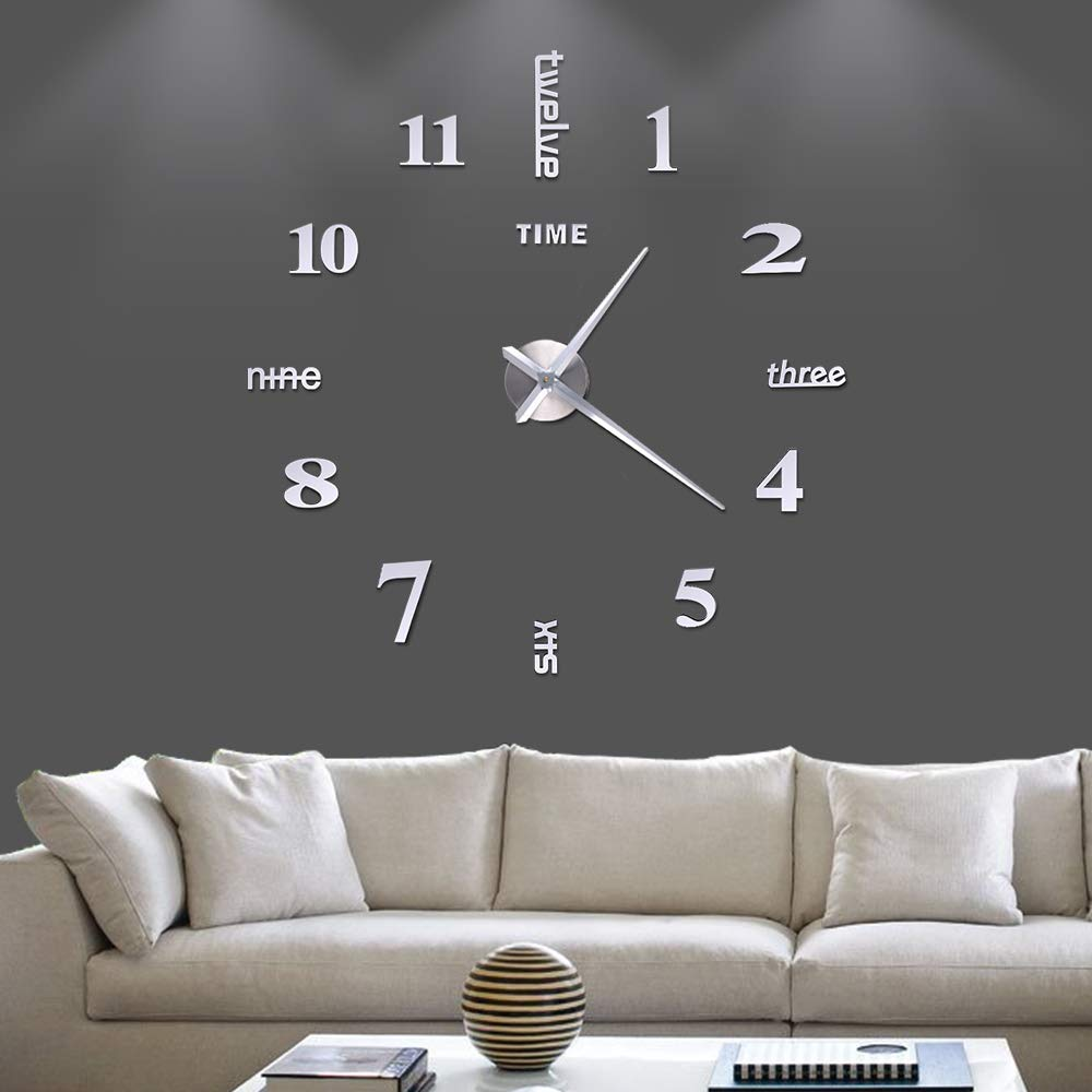 Fanyuanfds Frameless DIY Wall Clock,Large 3D Mirror Wall Clock Home Decorations for Home Living Room Bedroom Office Decoration (Black) (WL03-Silver)