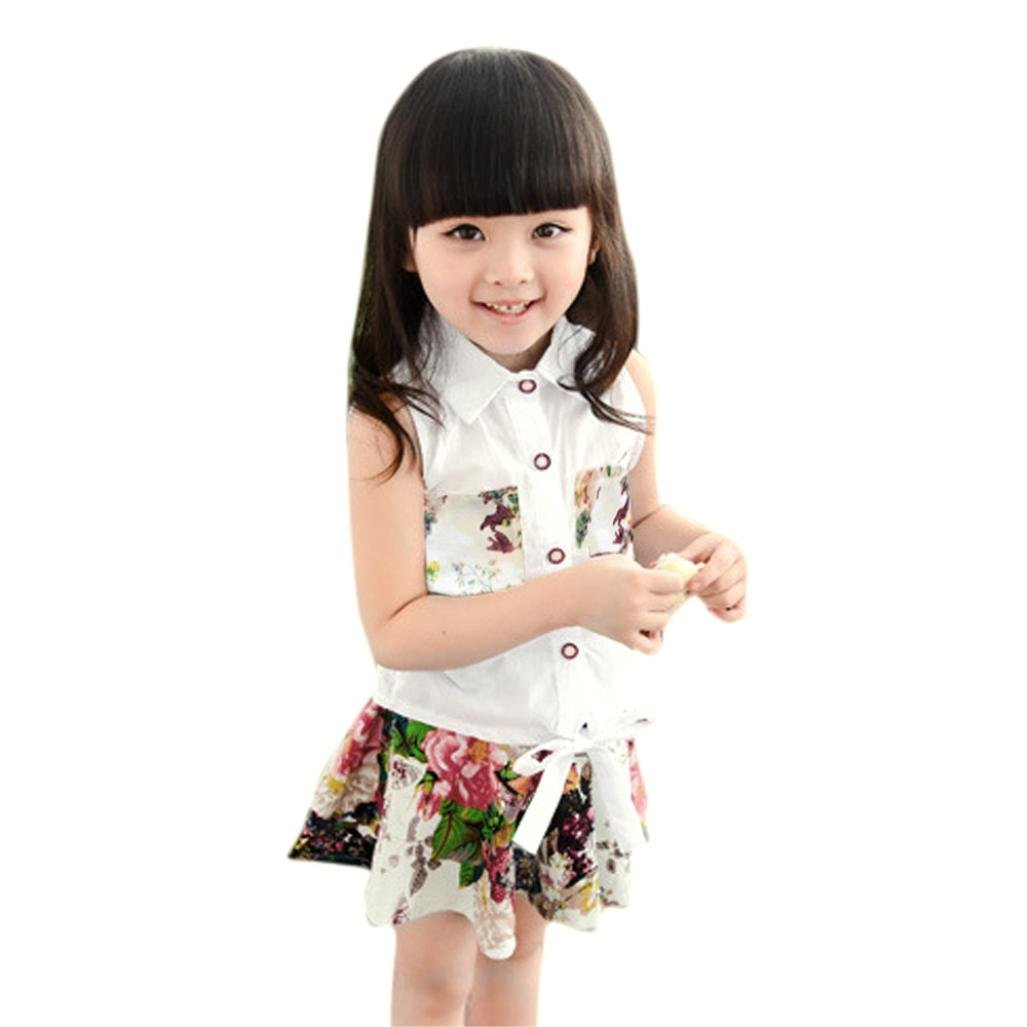 Amlaiworld Vestito per bambini, Camicetta senza maniche T-shirt + pantaloni floreale 2pcs Set Abiti Amlaiworld_7