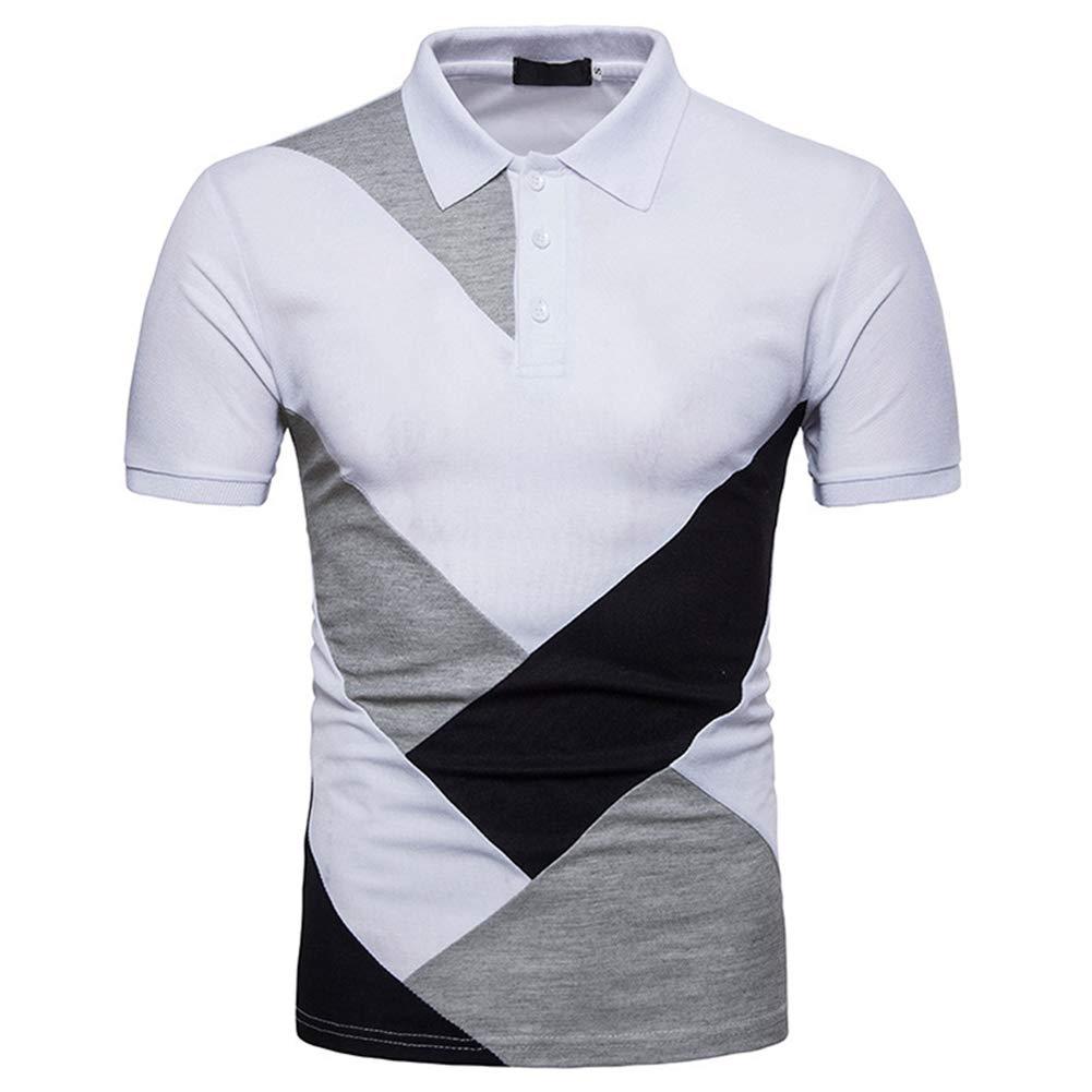 Romon Summer New Mens European Code Stitching Short-Sleeved Polo Shirt