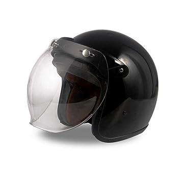 GSDZN - Casco Harley Casco Moto Moto Vintage Casco Jet Capacetes De Motociclista Vespa Cascos para Moto Racer Cara Abierta - Casco De Moto,Black-XL58-59cm: ...