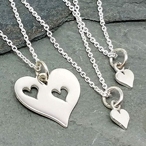 (Mother and Two Daughters Hearts - Three Necklace Set - 925 Sterling Silver)