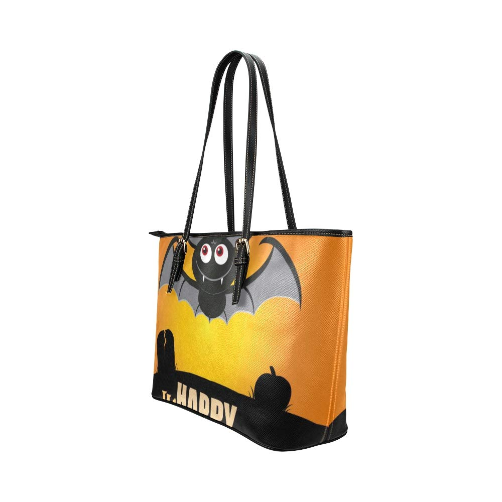 Halloween Orange Scary Eye Flying Bat Large Soft Leather Portable Top Handle Hand Totes Bags Causal Handbags With Zipper Shoulder Shopping Purse Luggage Organizer For Lady Girls Womens Work