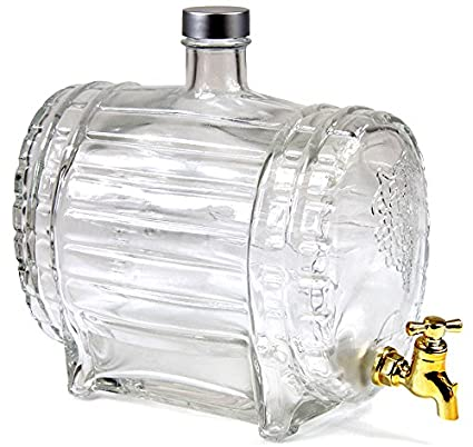 Barril de vino con grifo (Barril de Whisky aguardiente Barril Whisky Botella Barril Cristal 1