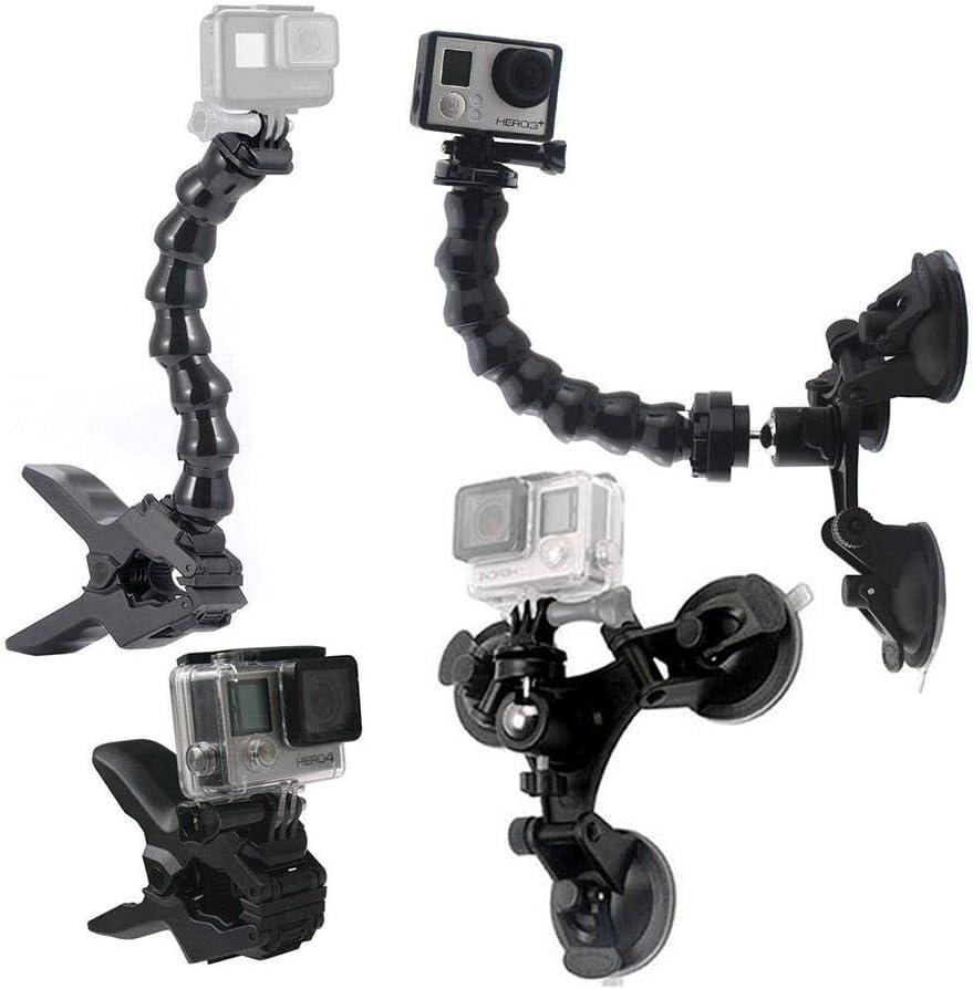 شفط كأس سيارة جبل حامل مع 360 درجة جبل + Jaws فليكس المشبك جبل مع الملحقات من GoPro قابل للتعديل لمن GoPro البطل 6 5 4 3 2 وغيرها من العمل كاميرا