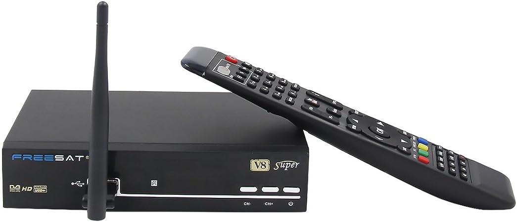 Freesat V8 Super con WiFi USB Satellite Receiver TV Sat Receiver Satellite DVB-S2 HD Full 1080P Support Biss Key PVR EPG Youtube Youporn EU Enchufe ...