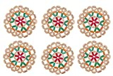Bamboo Coaster Round- Multicolor by Premsons(Pack of 6)