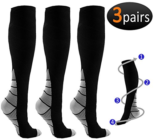 REEHUT 3 Pairs Compression Socks (20-30mmHg) for Men & Women - Great for Running, Nursing, Medical, Athletic, Edema, Flight Travel, Pregnancy and Shin Splints (Grey, L/XL) by REEHUT