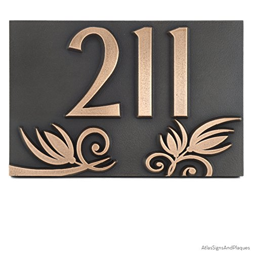 Flowers on a Rectangle Plaque 12x8 - Raised Bronze Coated by Atlas Signs and Plaques