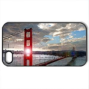 amazing sun rays through golden gate bridge - Case Cover for iPhone 4 and 4s (Bridges Series, Watercolor style, Black)