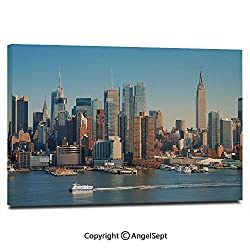Wall Art Decor High Definition New York City Skyline Over Hudson River Empire State Building Boats and Skyscrapers Painting Home Decoration Living Room Bedroom Background,16x24,Blue Brown