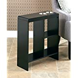 The Lakeside Collection Slim End Table with Drink Holders (Black)