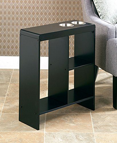 SLIM END TABLE BLACK WITH CUP HOLDERS STORAGE - Sofa Table Cup Holder