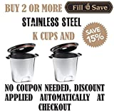 Fill N Save Elite Series Stainless Steel Reusable K Cup for Keurig 2.0 and Backward Compatible With Original Keurig 1.0 Models. Silver