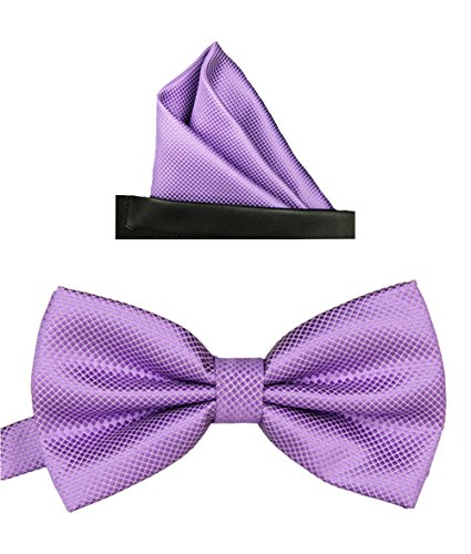 Simpowe Men's Formal Tuxedo Banded Pre-Tied Bow Tie Set (One Size, - Lavender Polyester Ties