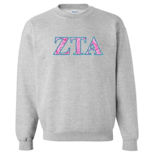 (VictoryStore Zeta Tau Alpha Sport Gray Crewneck Sweatshirt Greek Letter Design)