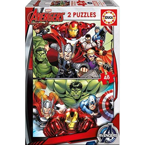 51nJZFMdGzL. SS500 Dos puzzles de 48 piezas, diversión por partida doble; dimensiones aproximadas del puzzle montado: 28 x 20 cm Puzzles inspirados en Avengers Compuestos por grandes piezas, óptimo acabadas para que sea sencilla y segura su manipulación por los niños