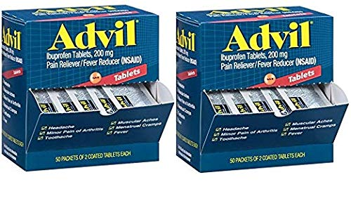 Advil (100 Packets of 2 Capsules) Pain Reliever/Fever Reducer Coated Tablet, Individually Sealed, 200mg Ibuprofen, Temporary Pain Relief, Travel Pack, Greeting Cards Included