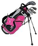 "U.S. Kids Golf Ultra Light 48"" Height, 5 Club Stand Golf Set with Bag, Pink/Black/Silver, Left Hand"