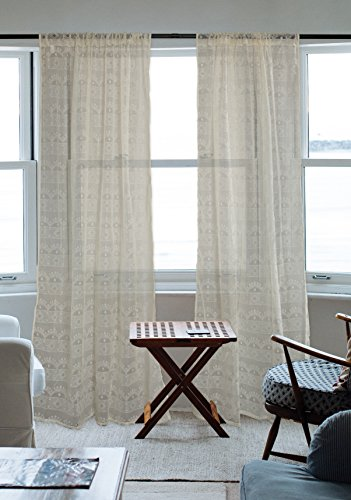 DII Sheer Lace Decorative Curtain Panels For Bedroom, Living Room, Guest Room, or Formal Sitting Areas, Light & Airy To Filter Sunlight Into Room, (Set of 2, 50 x 63) (Ivory Lace Curtain)