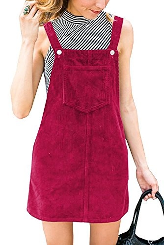 Salimdy Women's Corduroy Suspender Pinafore Bib Overalls Skirt Dress Pocket Purple (Purple Corduroy Skirt)