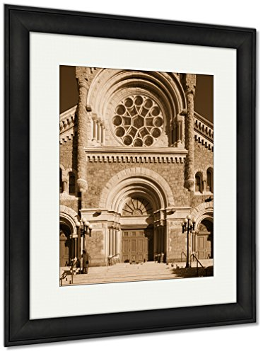 Ashley Framed Prints St Francis Xavier Catholic Church In Philadelphia USA, Wall Art Home Decoration, Sepia, 35x30 (frame size), Black Frame, AG6490108 by Ashley Framed Prints