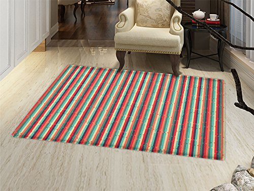 smallbeefly Stripes Door Mats Area Rug Retro Inspirations with Many Colors Abstract Lines Antique Pattern Sixties Motifs Floor mat Bath Mat for tub - Lines Multi Inspirations Rug