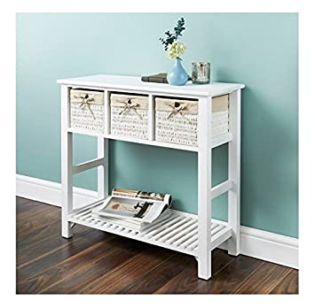 Wicker Basket Style 3 Drawer Console Table Bathroom Storage Furniture White