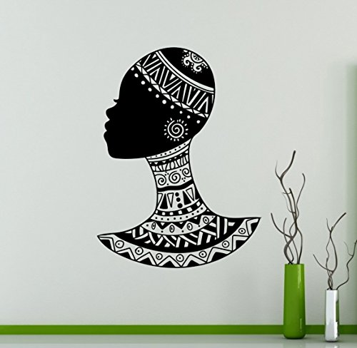Ethnic African Woman Wall Vinyl Decal Sticker Girl Folk Hairstyle Design Home Interior Art Decor Ideas Bedroom Living Room Office Removable Housewares (Ideas For Hairstyles)