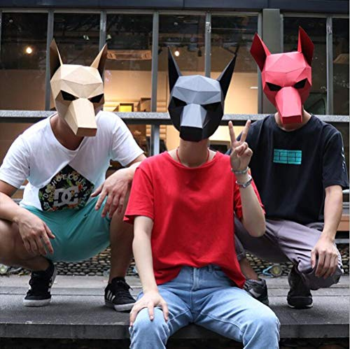MostaShow 3D Paper Mask Animal Head Molds DIY Handwork Halloween Party Costume Cosplay Party Tricky Funny Masks (Doberman-Black)