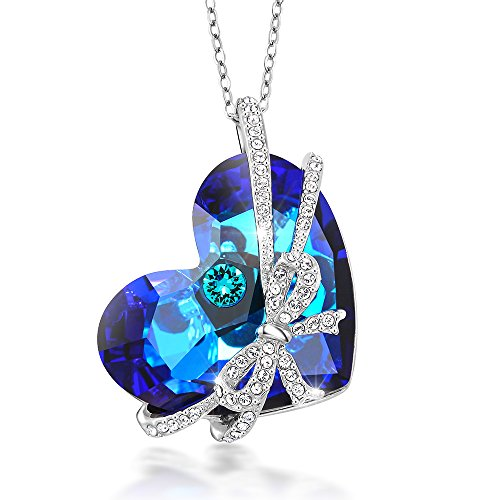 Gem Stone King Bermuda Blue Encased Ribbon Heart Pendant Made with Swarovski Crystals