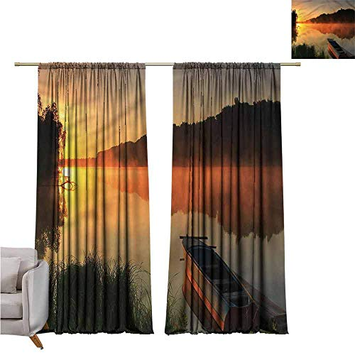 zojihouse LakeBedroom and Living Room Curtains Boat on