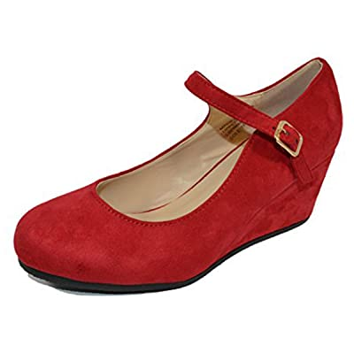 HapHop Women's Almond Toe Mary Jane Mid Heel Wedge Pump Shoes | Pumps