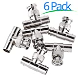 Pack of 6 BNC Female Cable Electronics Adapter: Male To Female Straight Connector for DVR, Satellite TV, CCTV, and Security Cameras - MAXIMM