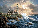 DIY 5D Diamond Painting by Number Kit, LPRTALK Full Drill Diamonds Painting Scenery Seaside Lighthouse Rhinestone Embroidery Cross Stitch Supply Arts Craft Canvas Wall Decor 14X18 inches