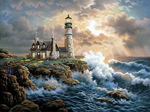 DIY 5D Diamond Painting by Number Kit, LPRTALK Full Drill Diamonds Painting Scenery Seaside Lighthouse Rhinestone Embroidery Cross Stitch Supply Arts Craft Canvas Wall Decor 14X18 inches by LPRTALK