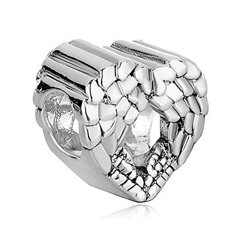 ReisJewelry Heart Angel Wings Charm Bead for Bracelets (Silver Plated)