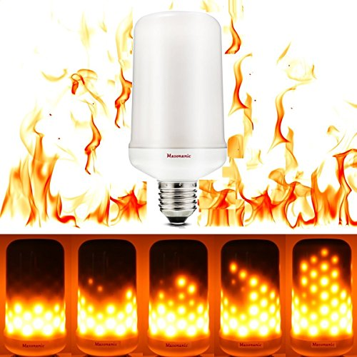 LED Flame Effect Fire Light Bulbs 5.5W E26 1300K,Creative Lights with Flickering Emulation,Vintage Atmosphere Decorative Lamps, Simulated Nature Gas Fire Lantern (Three Switches Model, 1 Pack)