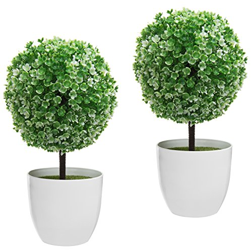 - MyGift 10 inch Artificial Faux Tabletop Topiary Trees with White Planter Pots, Set of 2