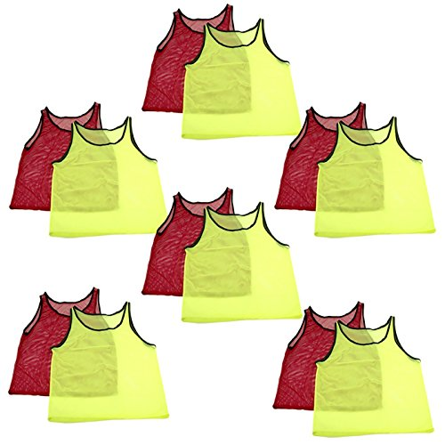 Tytroy 12 Pinnies Youth Practice Team Jerseys Mesh Scrimmage Training Vest Kids Sports (Yellow and Red)
