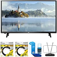 LG LJ500B Series 32 Class LED HDTV 2017 Model (32LJ500B) with 2x 6ft High Speed HDMI Cable Black, Universal Screen Cleaner for LED TVs & Durable HDTV and FM Antenna