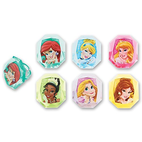 Disney Princess Gemstone Cupcake Topper Rings - Set of 12