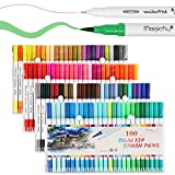 Dual Brush Pens 100 Colors, Magicfly Assorted Colors Dual Tip Marker with Fineliner Tip 0.4 and Highlighters Brush Tip(1mm-2mm) For Coloring, Art, Sketching, Calligraphy, Manga, Bullet Journal