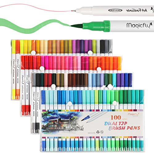 Dual Tip Marker Pens 100 Colors, Magicfly Watercolor Dual Brush Pen with Fineliner Tip 0.4 and Highlighters Brush Tip(1mm-2mm) For Coloring, Art, Sketching, Calligraphy, Manga, Bullet (Dual Tip Markers)