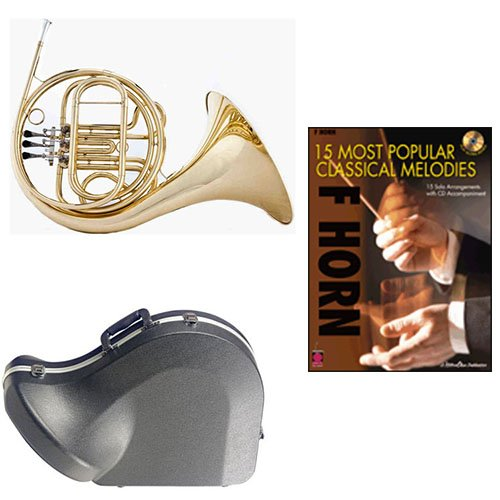 Band Directors Choice Single French Horn in F - 15 Most Popular Classical Melodies Pack; Includes Student French Horn, Case, Accessories & 15 Most Popular Classical Melodies Book by French Horn Packs